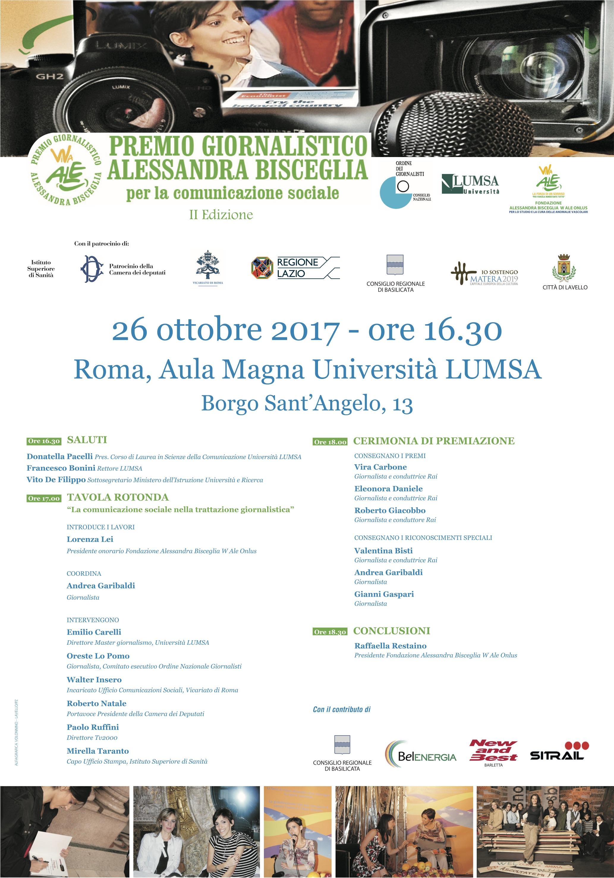 Programma evento Premio Alessandra Bisceglia